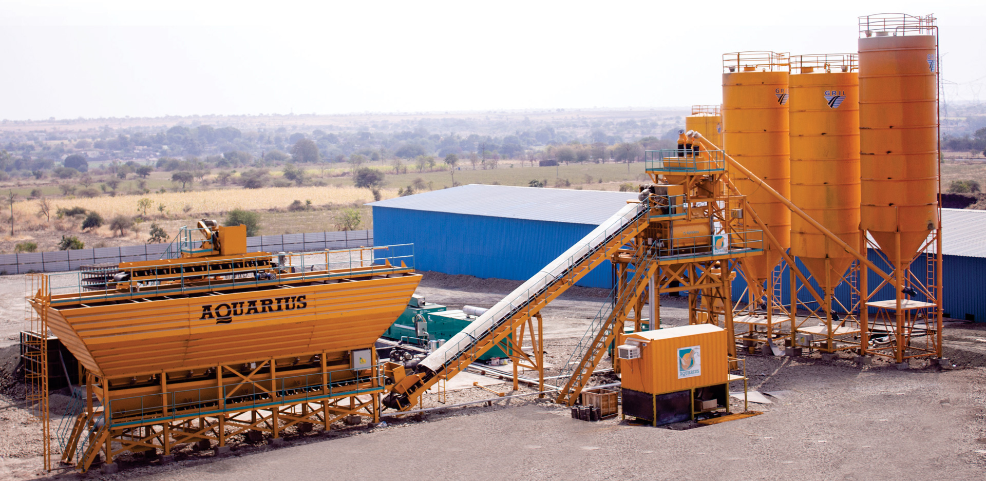 Aquarius SP 120C Batching Plant working at G R INFRA PROJECTS LTD. for AKKALKOT-SOLAPUR Concrete Road Project