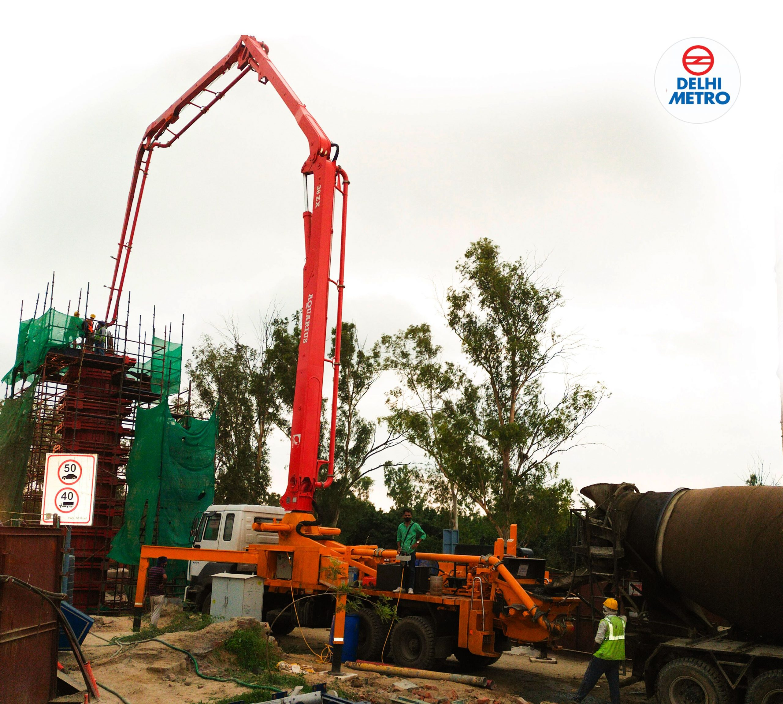 Aquarius 36 ZX Boom Pump working at M/s Rajraman Infra for Delhi Metro Bhajanpura Project